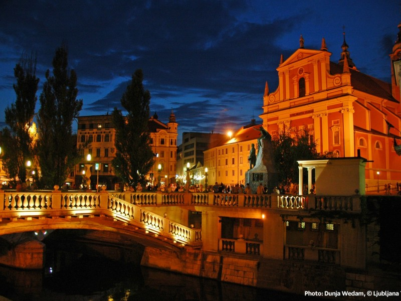 Night view of Triple bridge (Source: www.visitljubljana.com, D. Wedam)